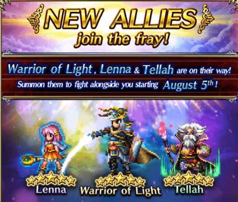 warrior of light ffbe allies warrior of the light tellah lenna