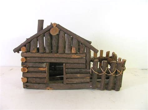 Model Log Cabin by Vintage Log Cabin Twig Model