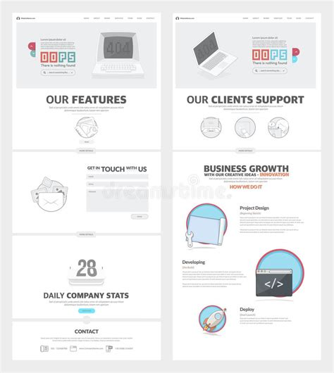 Two Page Website Design Template With Concept Icons And Avatars For Business Company Portfolio 2 Page Website Template