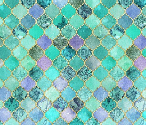 aqua teal mint and gold oriental moroccan tile pattern pale mint lilac decorative moroccan tiles with gold