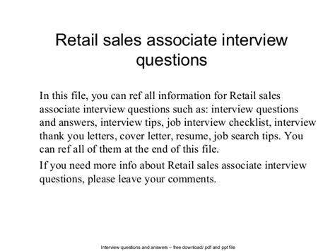 retail sales associate questions