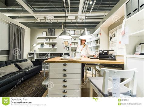 kitchen furniture online shopping woman buying luxury kitchen editorial stock photo image