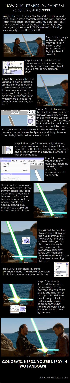 paint tool sai light tutorial lightsaber in sai tutorial by lightning in my
