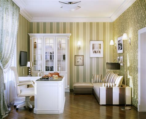 inspiration green white home office interior design ideas