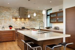 Contemporary Kitchen Island 30 Inventive Kitchens With Stone Walls