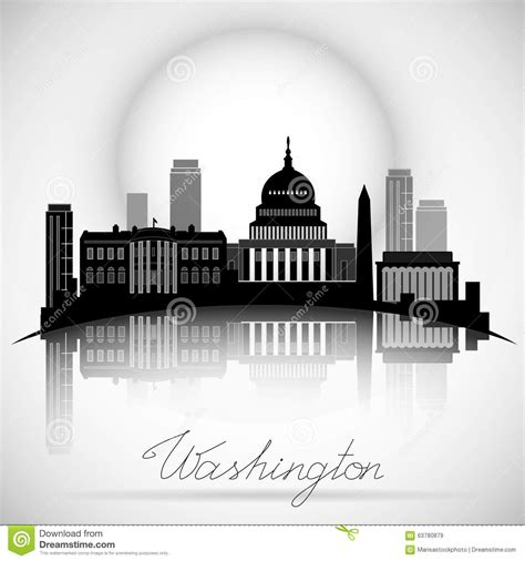 wäschesammler design washington dc skyline design vector silhouette stock