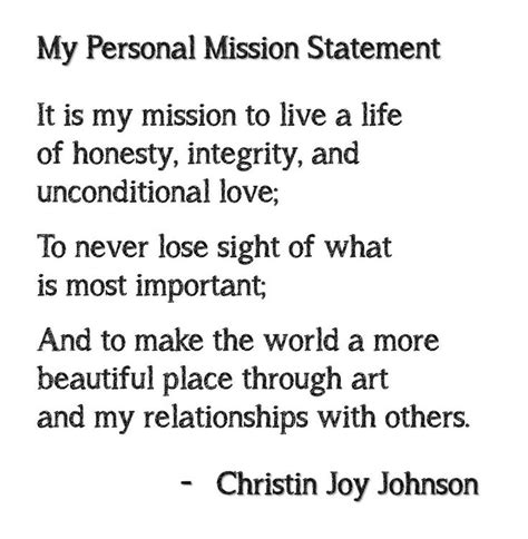 personal mission statement template personal mission statement