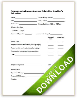 expense and allowance approval related to a new hire s