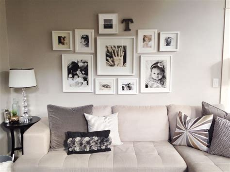 Wall Collage Ideas Living Room by Photo Wall Collage Neutral Tones All White