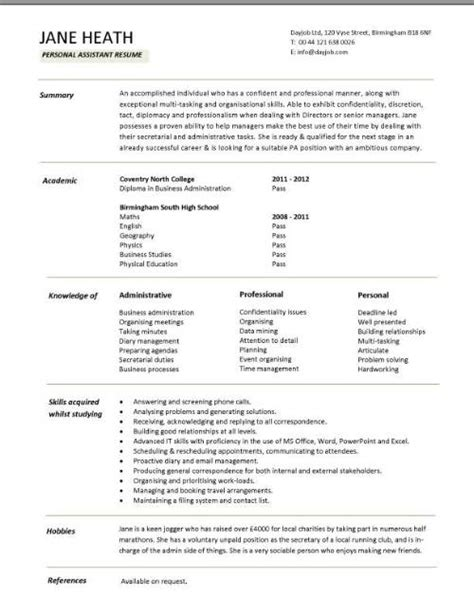 cv template for graduates student cv template sles student graduate cv qualifications career advice