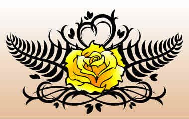 black and yellow rose tattoo images designs