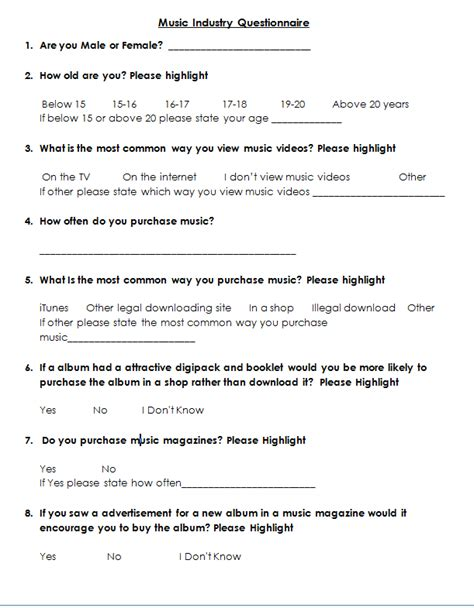 questionnaire sample word a2 media coursework natalie wernham generic music