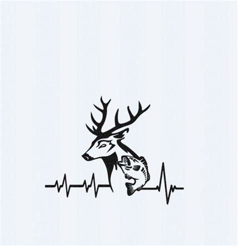heartbeat tattoo with deer deer fish svg cutting file hunting svg by jencraftdesigns