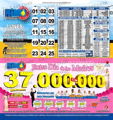 loteria kino tachira sorteo nro 1231 tuazar loter 237 a kino t 225 chira sorteo nro 1191 listado 171 tuazar