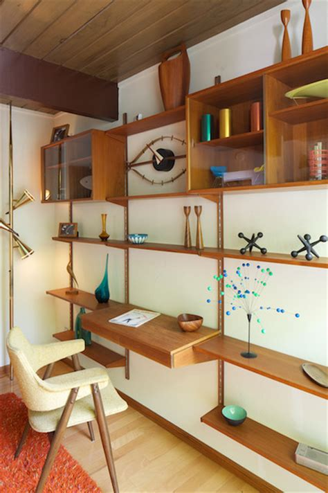 wall unit desk home office contemporary with artwork built mid century modern shelving unit with desk modern