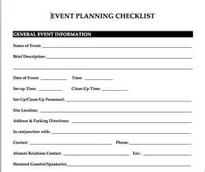 fundraising event planning checklist template exle event planning checklist