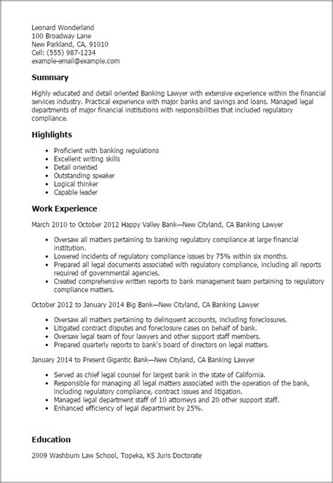 Lawyer Resume by Banking Lawyer Resume Template Best Design Tips