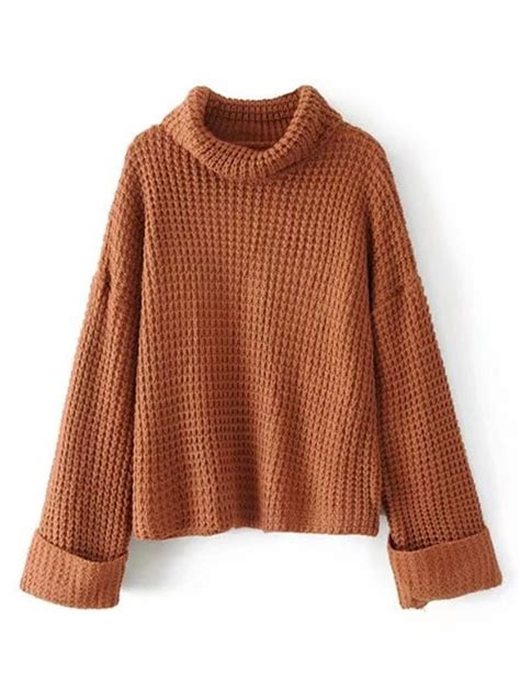 16689 Brown Turtle Neck Sweater turtleneck waffle knit sweater shein sheinside