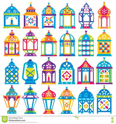 design kalender poster set of 24 ramadan lanterns stock vector image 81940852