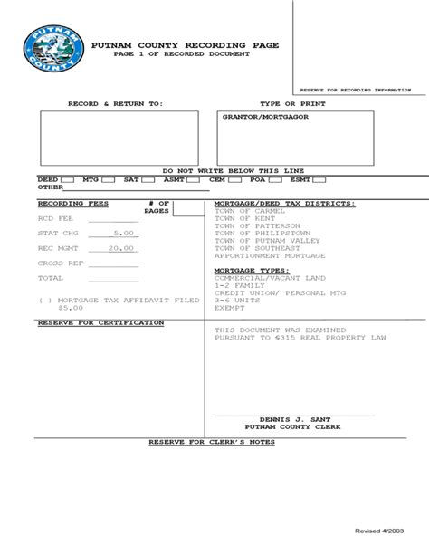 Putnam County Clerk S Office by Recording Page Putnam County Free