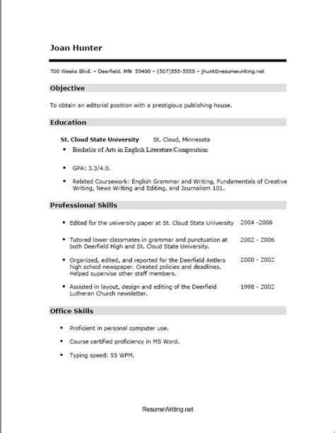 Resume Template Communication Skills Resume Style Single Column