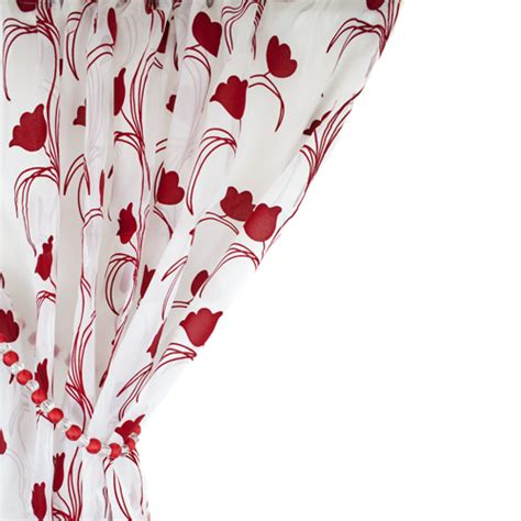 red and white floral curtains leiden floral red white voile curtain panel tonys textiles
