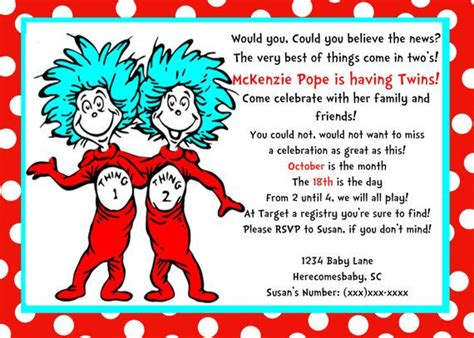 thing 1 and thing 2 card templates dr seuss thing one and thing two baby shower