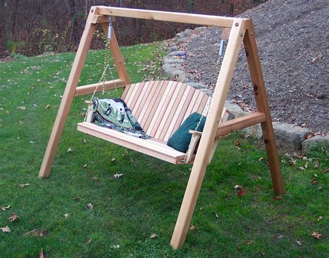 patio swing with stand red cedar blue mountain fanback porch swing w stand