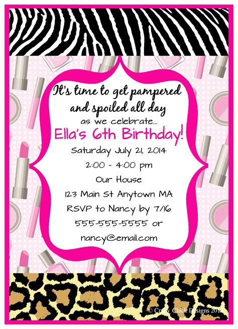 Spa Sleepover Birthday Party Invitations   Crafty Chick Designs