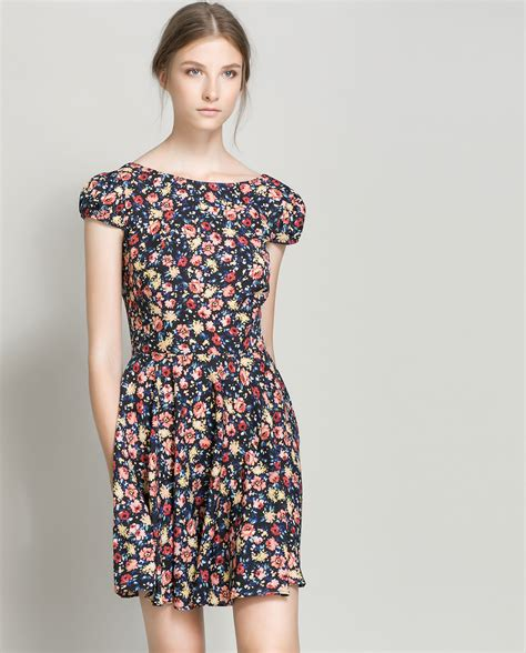 zara floral print dress in black lyst
