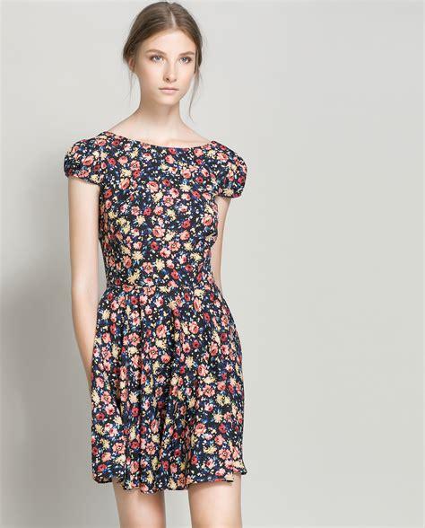 Dress Flower zara floral print dress in black lyst