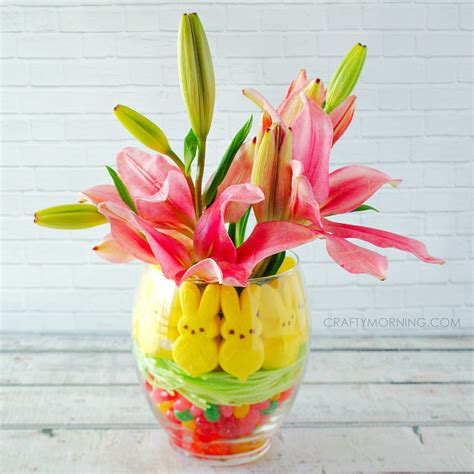 easter centerpiece ideas peeps jelly bean easter vase centerpiece crafty morning