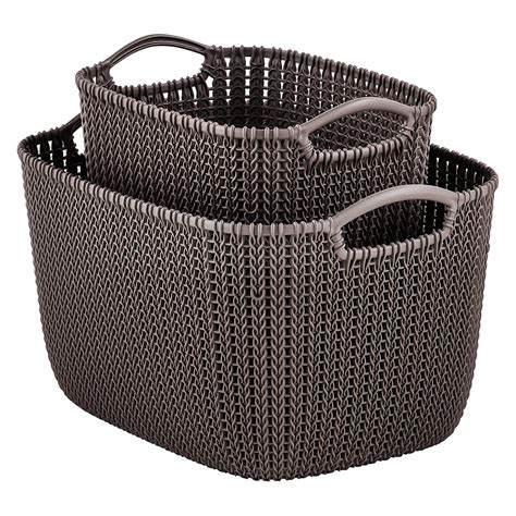 knit basket curver harvest brown knit baskets the container store