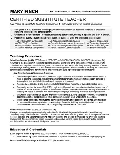 Substitute Teacher Resume Sample   Monster.com
