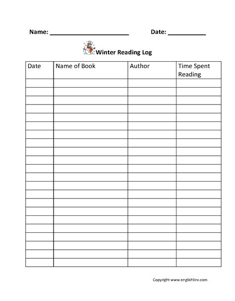 reading logs winter reading log
