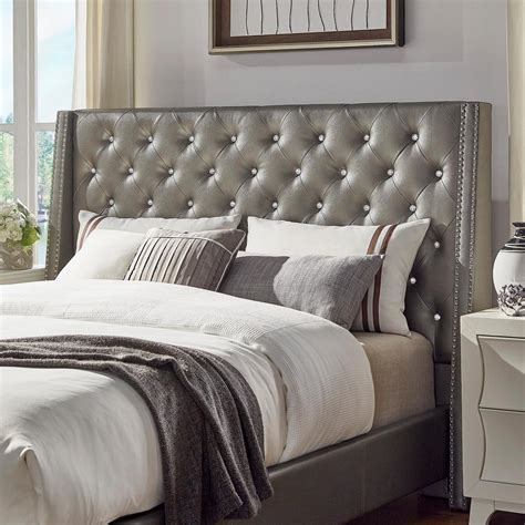 silver headboards homesullivan venus silver metallic queen headboard