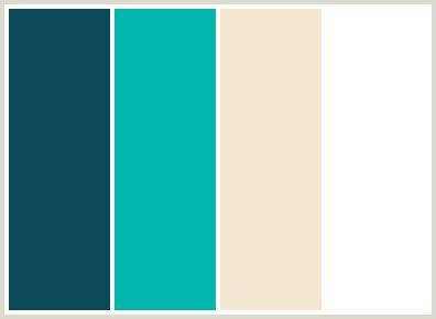 colors that go with aqua colorcombo2453 with hex colors 0a4958 01b6ad f6e7d2 ffffff