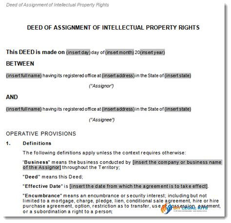 property transfer agreement template assignment of intellectual property rights transfer agreement
