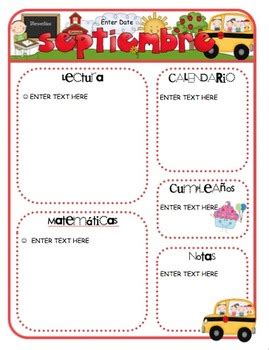 Spanish Monthly Newsletter Templates By Mrs Ricca S Kindergarten Monthly Classroom Newsletter Template