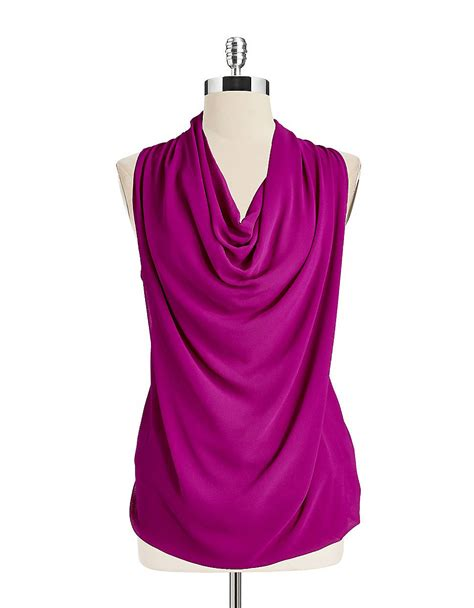 drape front blouse dkny drape front sleeveless blouse in purple cerise lyst