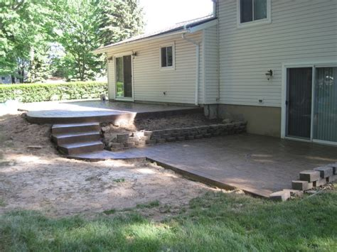 multi level patio with concrete steps sted concrete