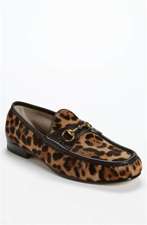 gucci roos bit loafer in brown for black cheetah print lyst