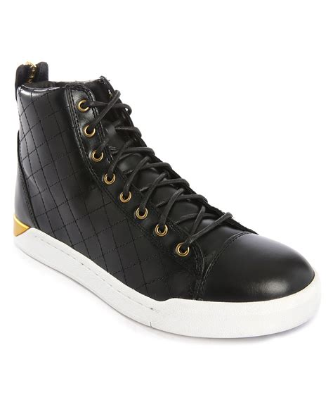 black sneakers white sole diesel black side stitching white sole high top
