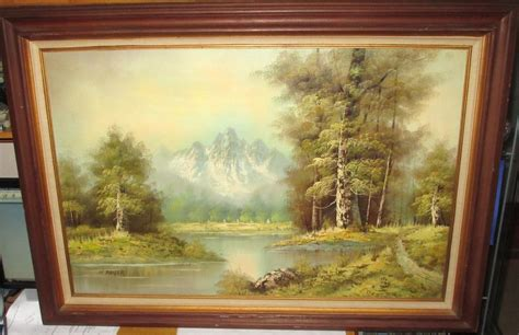 H Painting by H Bauer Snow Mountain Wilderness Lake Painting Ebay