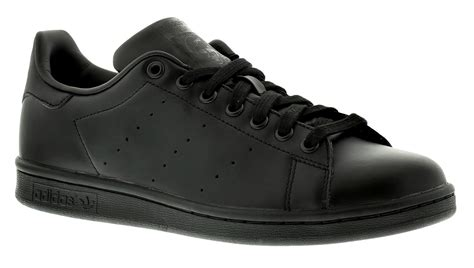 adidas originals stan smith mens gents leather lace ups fastening fashion trainers black