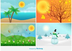 four seasons landscape illustrations free