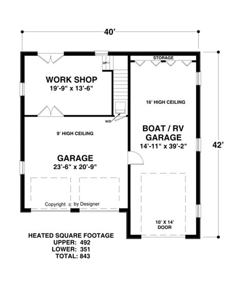 rv garage floor plans boat rv garage 1753 1 bedroom and 1 5 baths the house designers