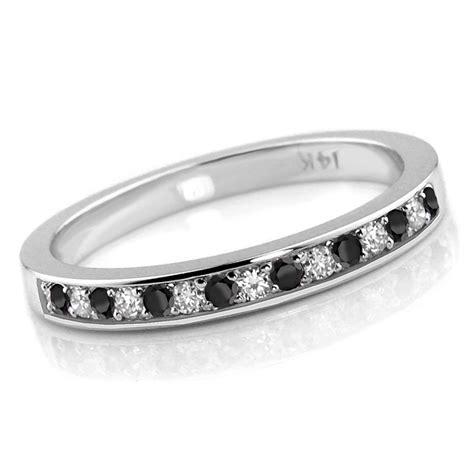 Wedding Bands Black Diamonds by 0 24ct Alternating Black White Wedding Ring Band