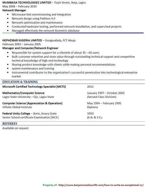 format of a good cv in nigeria how to quickly write a catchy cv picture jobs