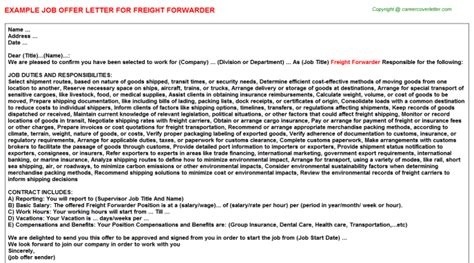 appointment letter ppsc domestic freight forwarder offer letters sles list